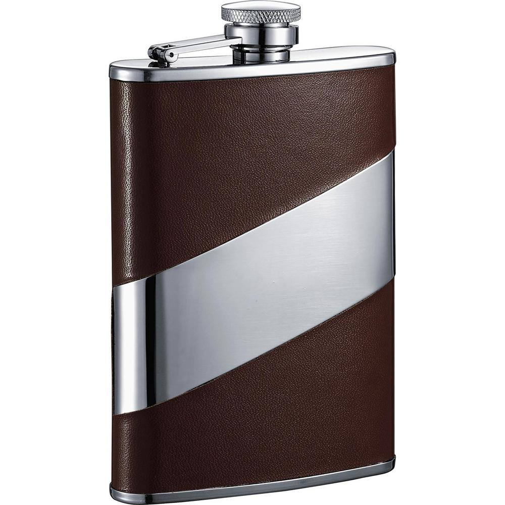 Visol 8 oz. Descent Brown Leather and Stainless Steel Liq...