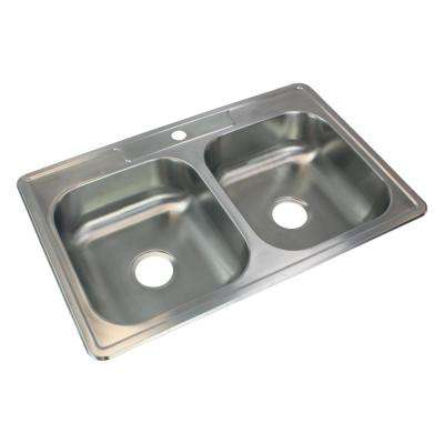 Select Drop-In Stainless Steel 33 in. 1-Hole 50/50 Double Bowl Kitchen Sink in Brushed Stainless Steel