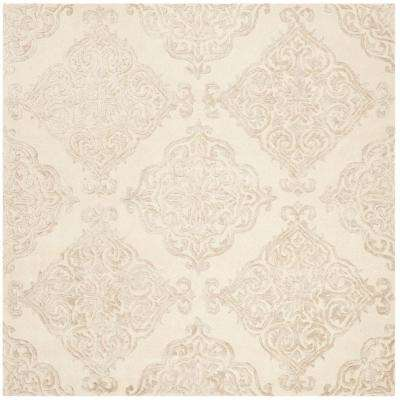 Glamour Ivory/Beige 6 ft. x 6 ft. Square Area Rug