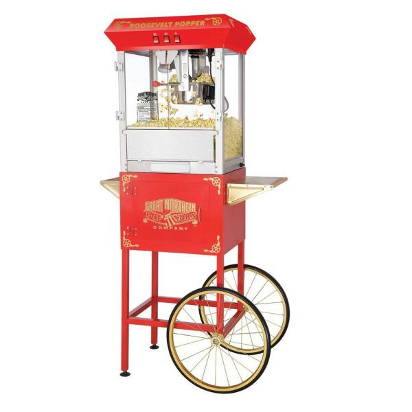 Great Northern Roosevelt 8 oz. Antique Red Popcorn Machine with Cart