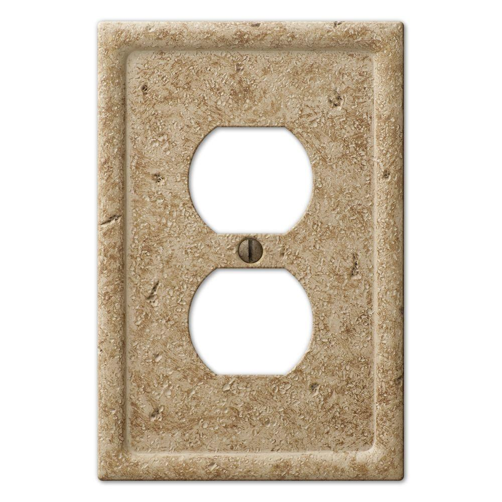Creative Accents Stone 2 Duplex Wall Plate - Noce-DISCONTINUED