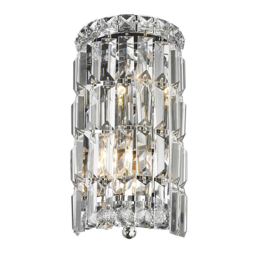 Worldwide Lighting Cascade Collection 2-Light Chrome and Clear Crystal Sconce