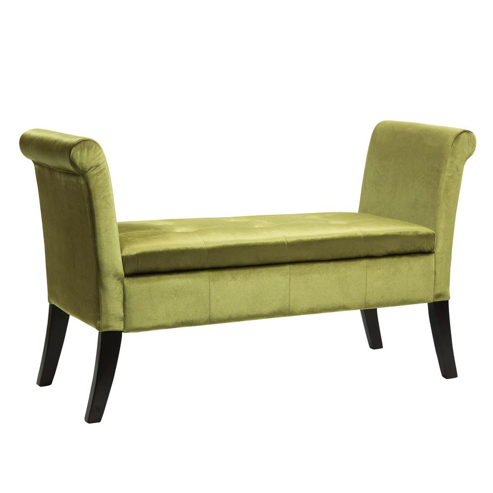 Antonio Green Velvet Storage Bench with Scrolled