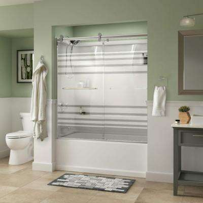 Simplicity 60 in. x 58-3/4 in. Semi-Frameless Contemporary Sliding Bathtub Door in Chrome with Transition Glass