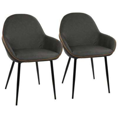 Black and Grey Clubhouse Vintage Faux Leather Dining Chair (Set of 2)