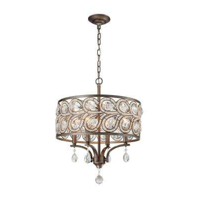 Evolve 4-Light Weathered Zinc Chandelier With Metal And Crystal Shade