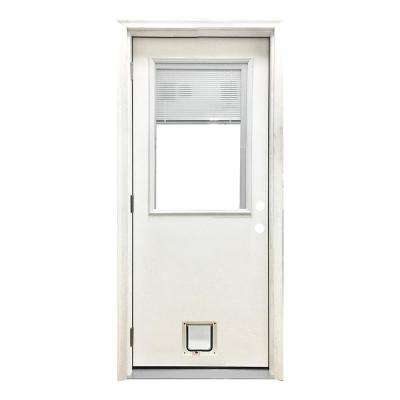 32 in. x 80 in. Classic Mini-Blind RHOS White Primed Textured Fiberglass Prehung Front Door with Small Cat Door