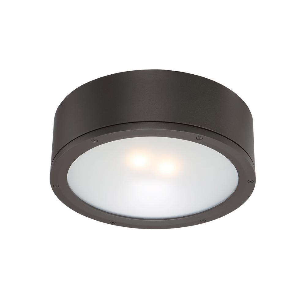 Tube 12 in. 1-Light Bronze ENERGY STAR LED Indoor or Outdoor Flush Mount