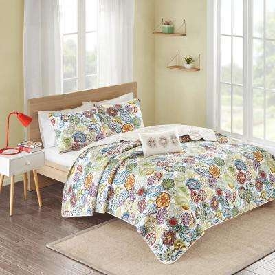 Asha 3-Piece Multi-Colored Twin/Twin XL Print Coverlet Quilt Set