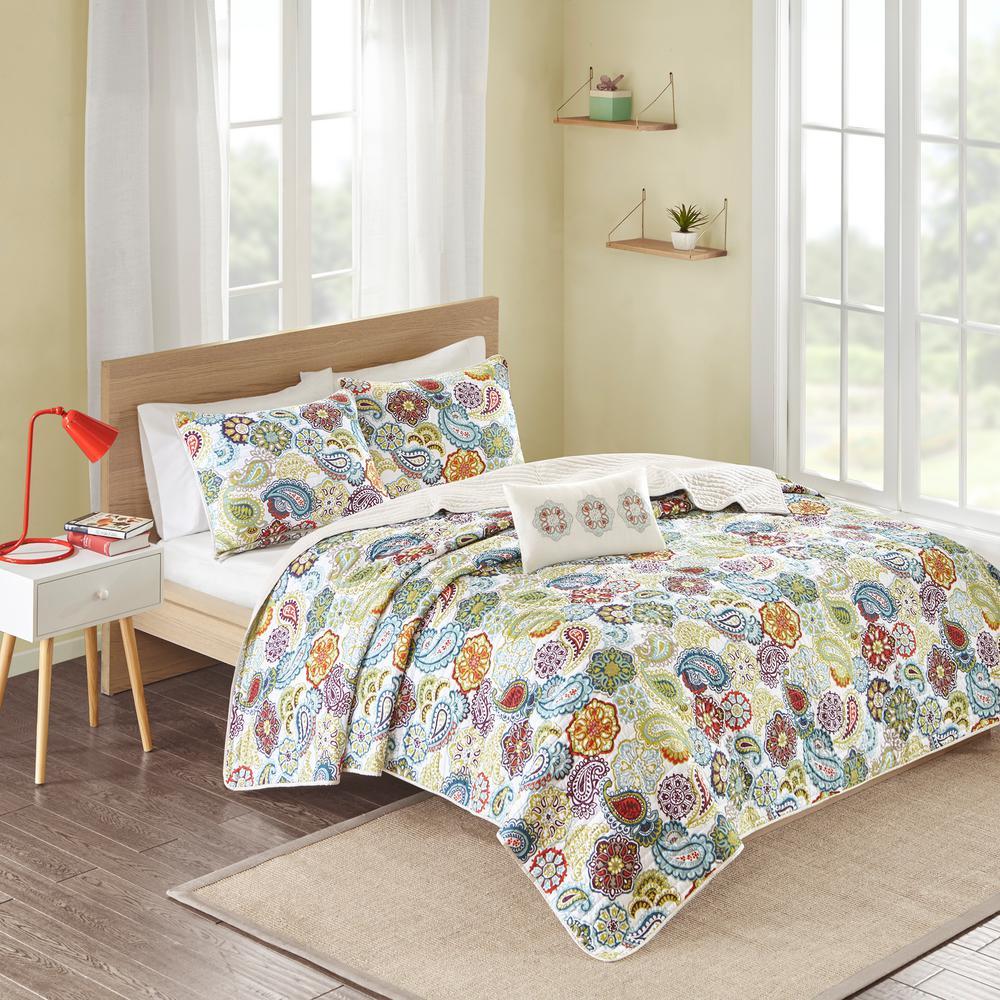Asha 4-Piece Multi-Colored Full/Queen Print Coverlet Quilt Set
