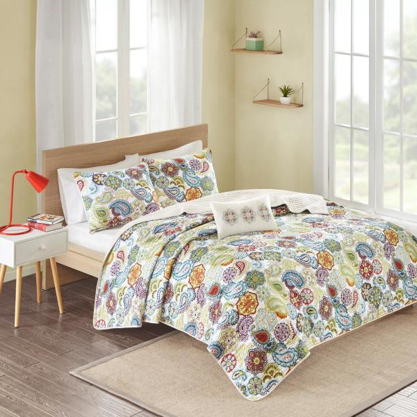 Mi Zone Asha 4-Piece Multi-Colored King/California King Print Coverlet Quilt Set