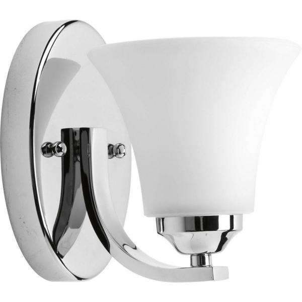 Adorn Collection 1-Light Chrome Bath Sconce with Etched Glass Shade