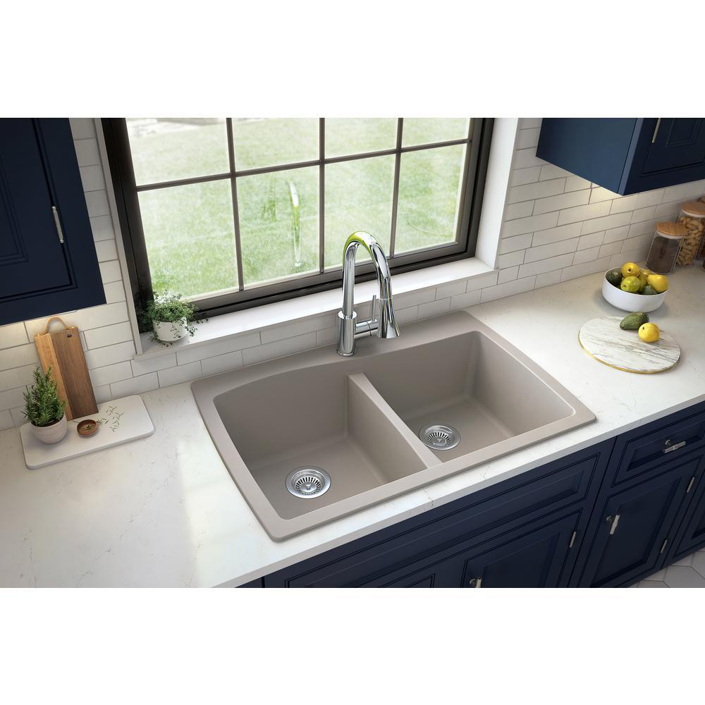 Karran Drop-In Quartz Composite 34 in. 1-Hole 50/50 Double Bowl Kitchen Sink in Concrete