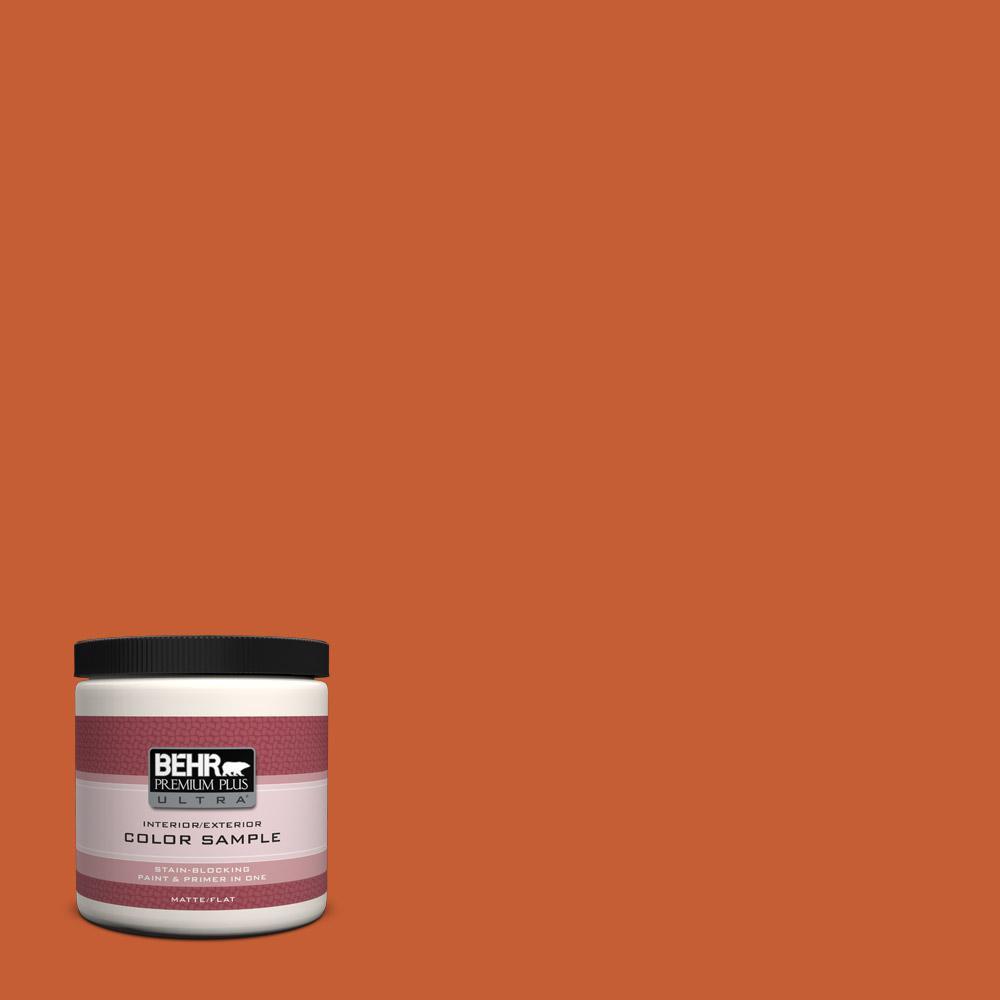 Behr premium plus ultra 8 oz t18 02 civara matte interior exterior paint and primer in one for Behr interior paint and primer in one