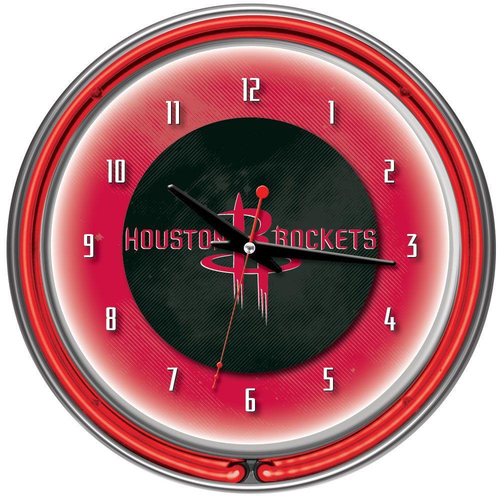 14 in. Houston Rockets NBA Chrome Double Ring Neon Wall Clock