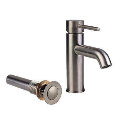 Single Hole Single-Handle Bathroom Faucet with Metal Drain Assembly in Brushed Nickel
