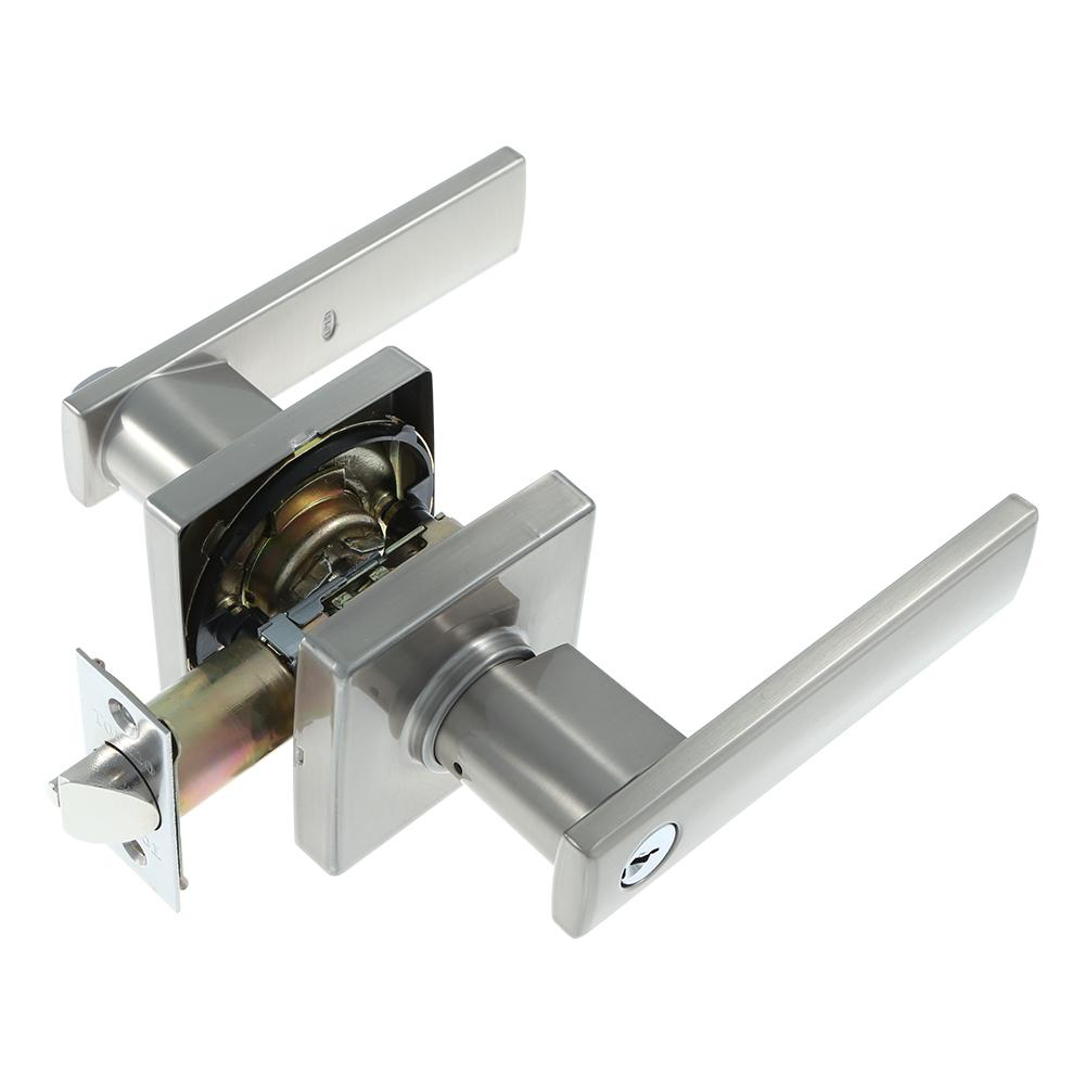 European Keyed Entry Satin Nickel Lugo Door Lever Set