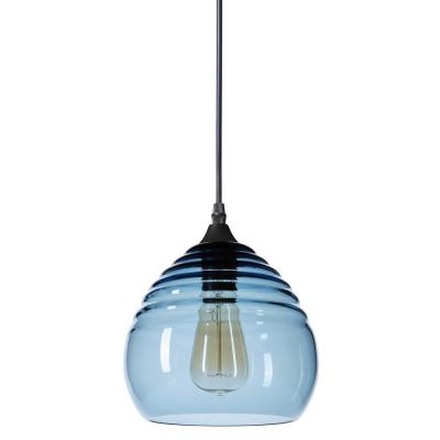 Ripple 8 in. W x 7 in. H 1-Light Black Hand Blown Glass Pendant Light with Grey-Blue Glass Shade