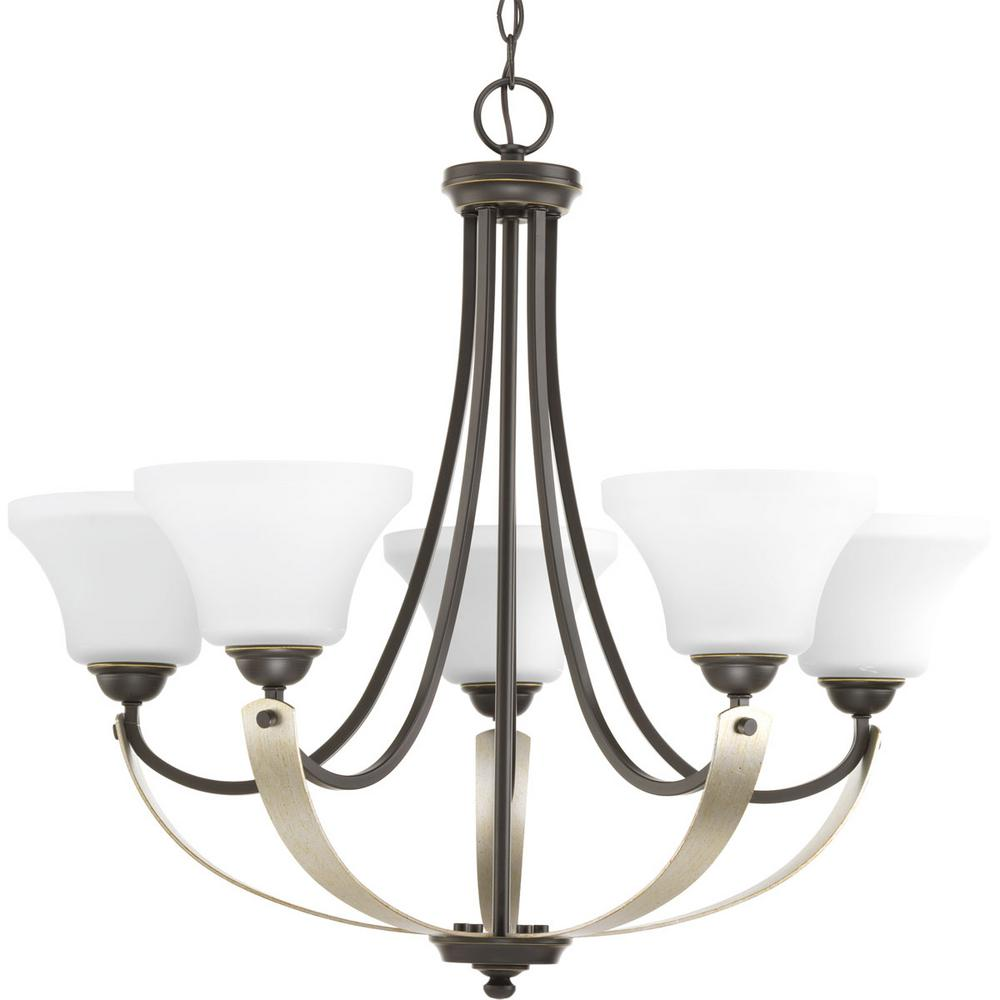 Noma Collection 5-light Antique Bronze Chandelier with Etched Glass Shade