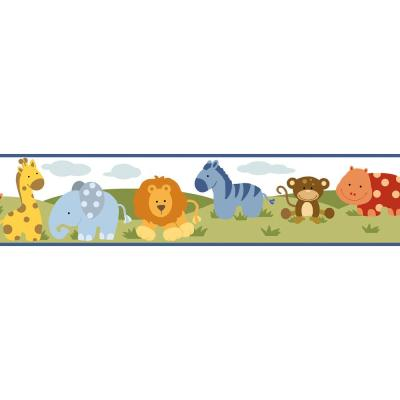 Simba White Jungle Safari Cartoons Blue Wallpaper Border