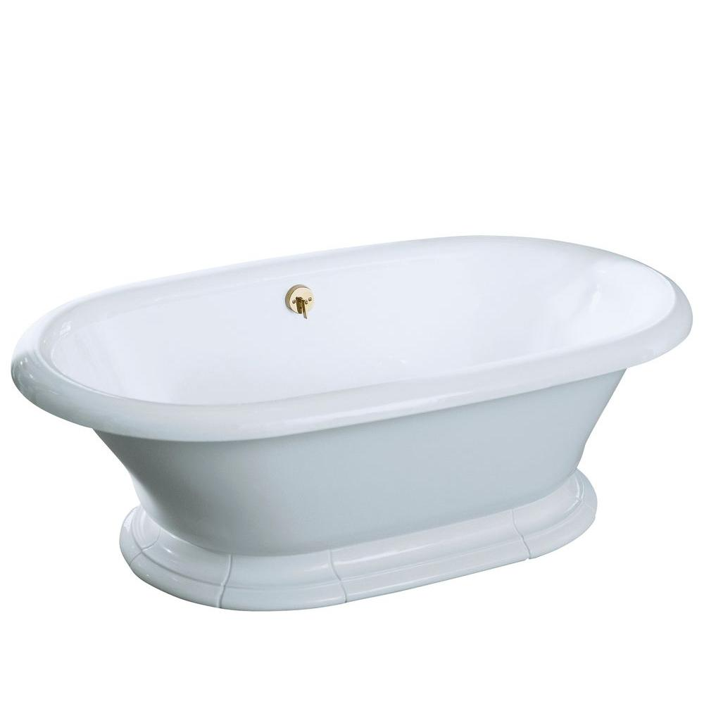 Center drain free standing cast iron bathtub in white