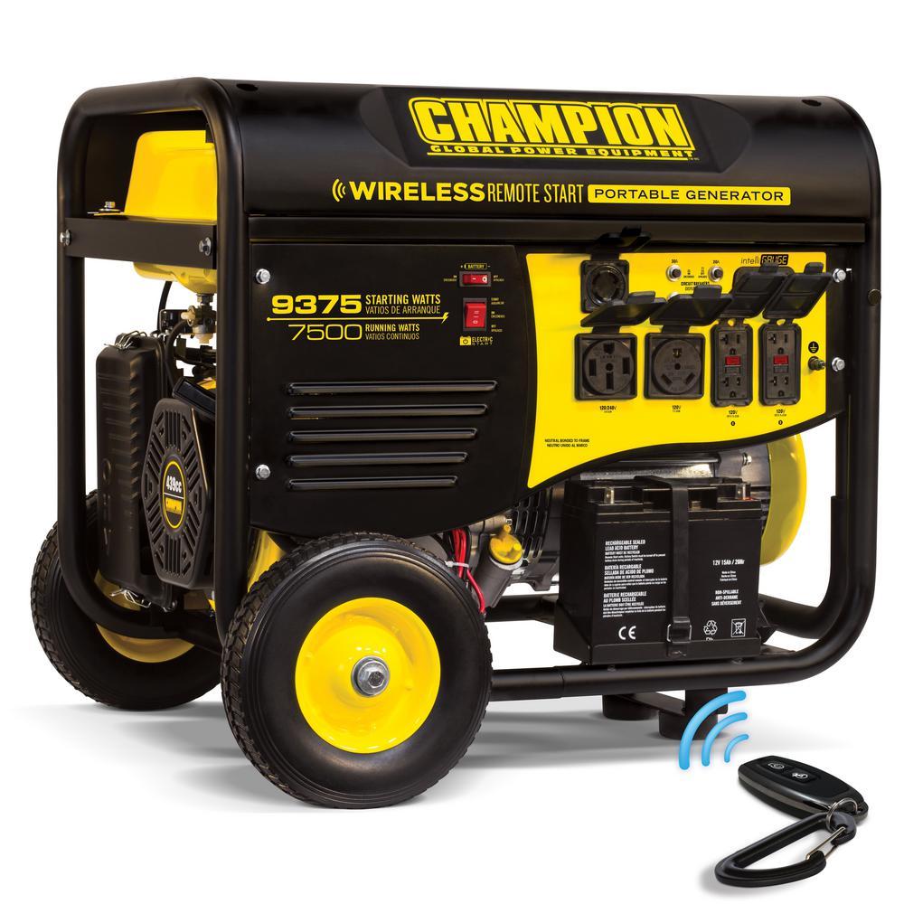 Champion Power Equipment 7,500-Watt Gasoline Powered Wireless Remote Start Portable  Generator with Champion 439cc