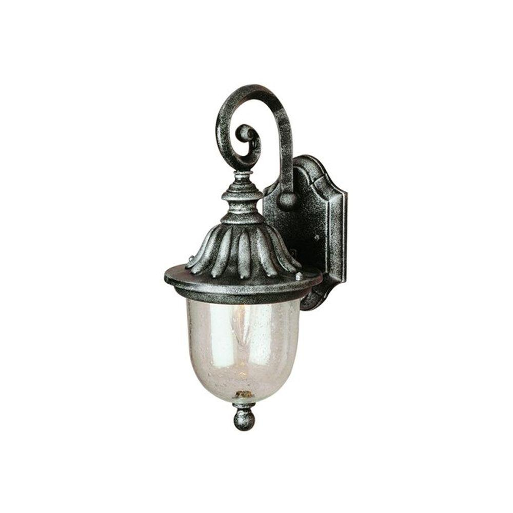 Bel Air Lighting Cabernet Collection 1 Light Outdoor White Coach Lantern With Clear Seeded Shade 4187 WH