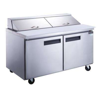60 in. W 14.3 cu. Ft. 2-Door Commercial Food Prep Table Refrigerator in Stainless Steel
