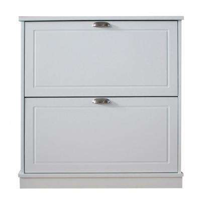 31.75 in. x  30 in. 12-Pair Shoe Storage Cabinet with 2-Drawers in White Finish