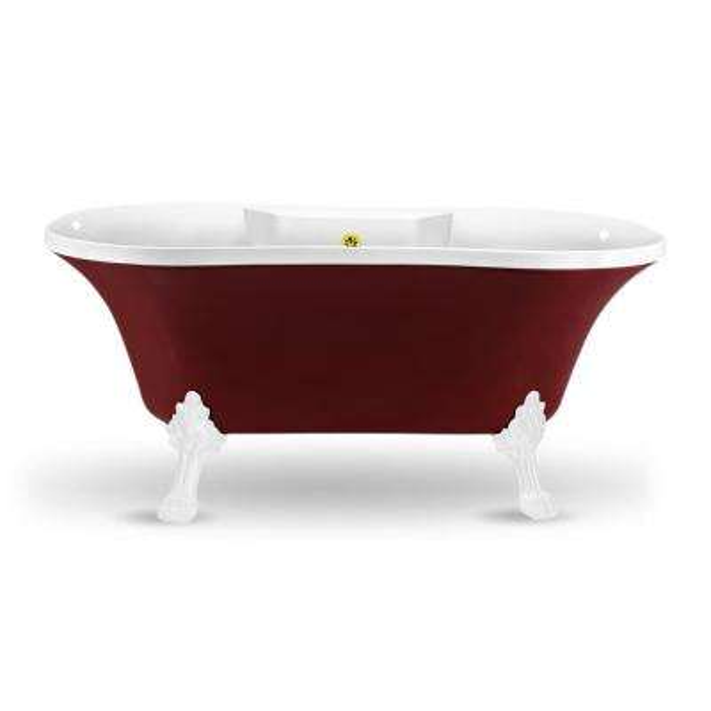 60 in. Acrylic Fiberglass Clawfoot Non-Whirlpool Bathtub in Red