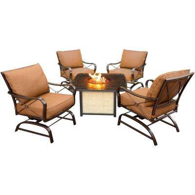 Bradford 5-Piece All-Weather Patio Conversation Set and Cast-Top Fire Pit Table with Desert Cushions