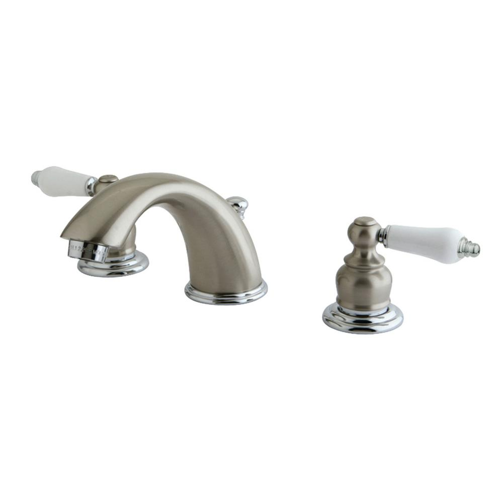 Kingston Brass Victorian 8 In. Widespread 2-Handle Bathroom Faucet In Chrome And Brushed Nickel