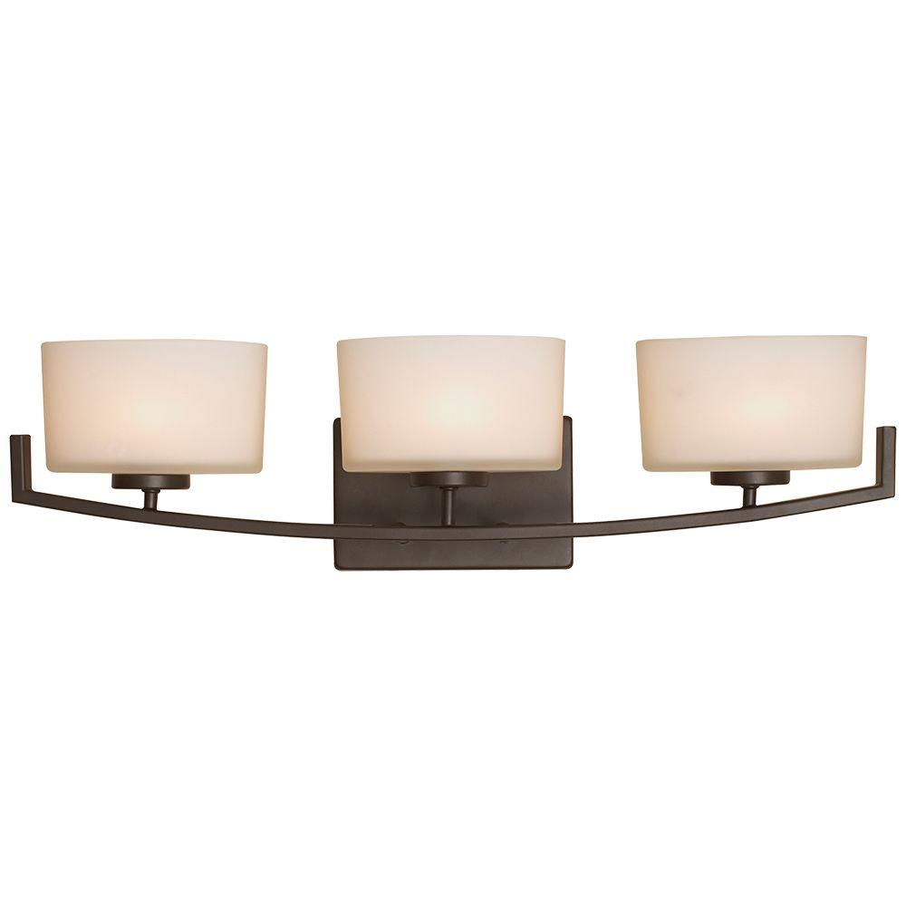 Burye 3 Light Oil Rubbed Bronze Vanity Light With Etched White Glass