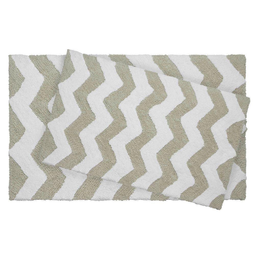 Reversible Cotton Soft Zigzag Ivory 2-Piece Bath Mat Set