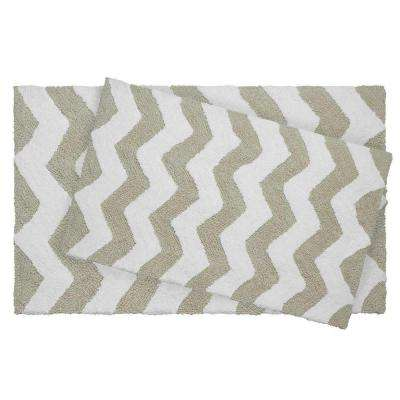 Reversible Cotton Soft Zigzag Ivory 2-Piece Bath Mat Set
