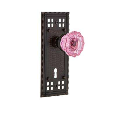 Craftsman Plate with Keyhole 2-3/8 in. Backset Timeless Bronze Privacy Crystal Pink Glass Door Knob