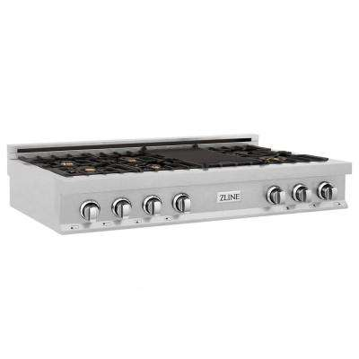 ZLINE 48 in. Porcelain Rangetop in DuraSnow Stainless Steel with 7 Gas Brass Burners (RTS-BR-48)