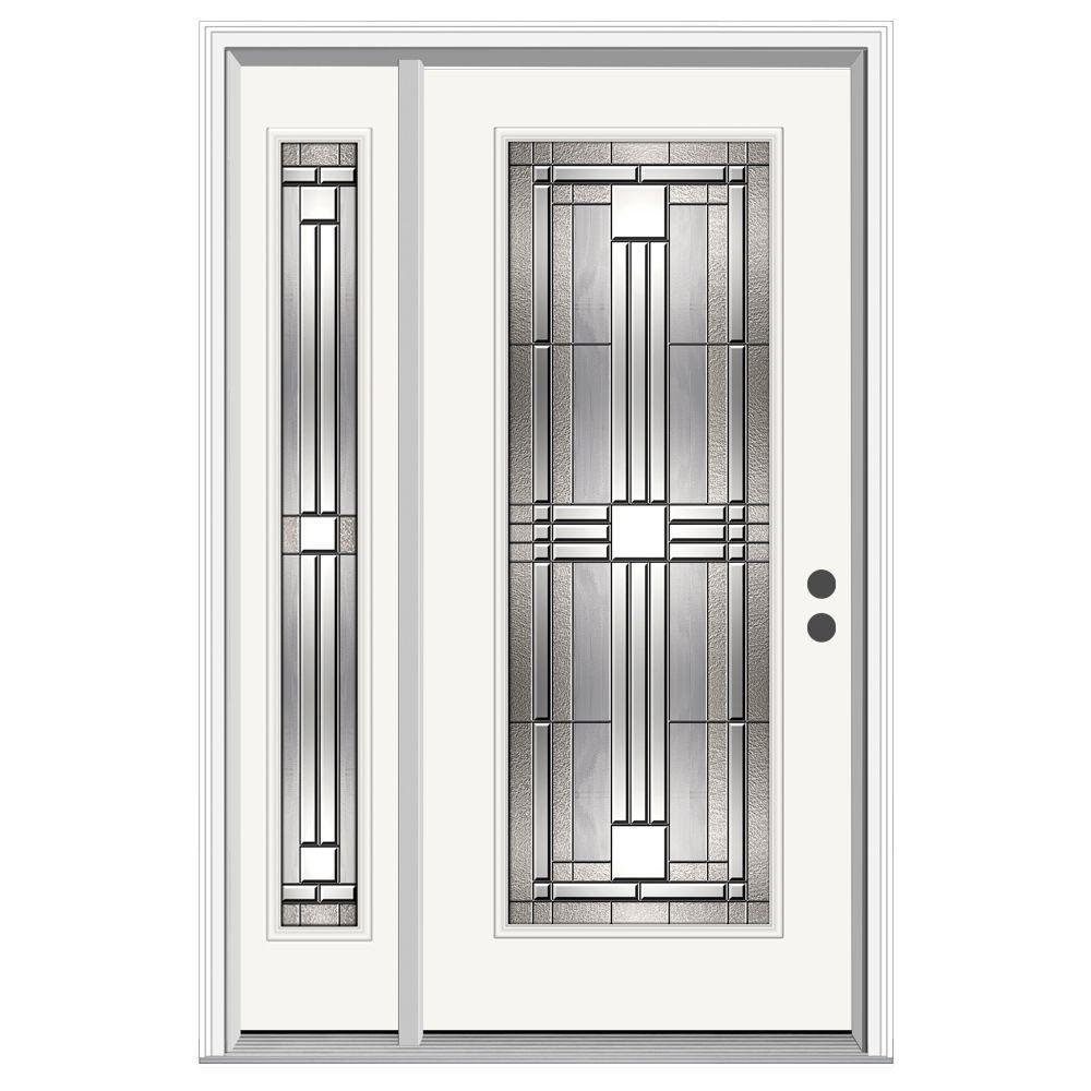 52 in. x 80 in. Full Lite Cordova Primed Steel Prehung Left-Hand Inswing Front Door with Left-Hand Sidelite