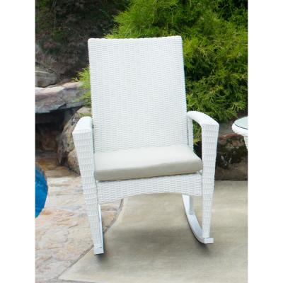 Bayview White Magnolia Wicker Outdoor Rocking Chair with Tan Cushion
