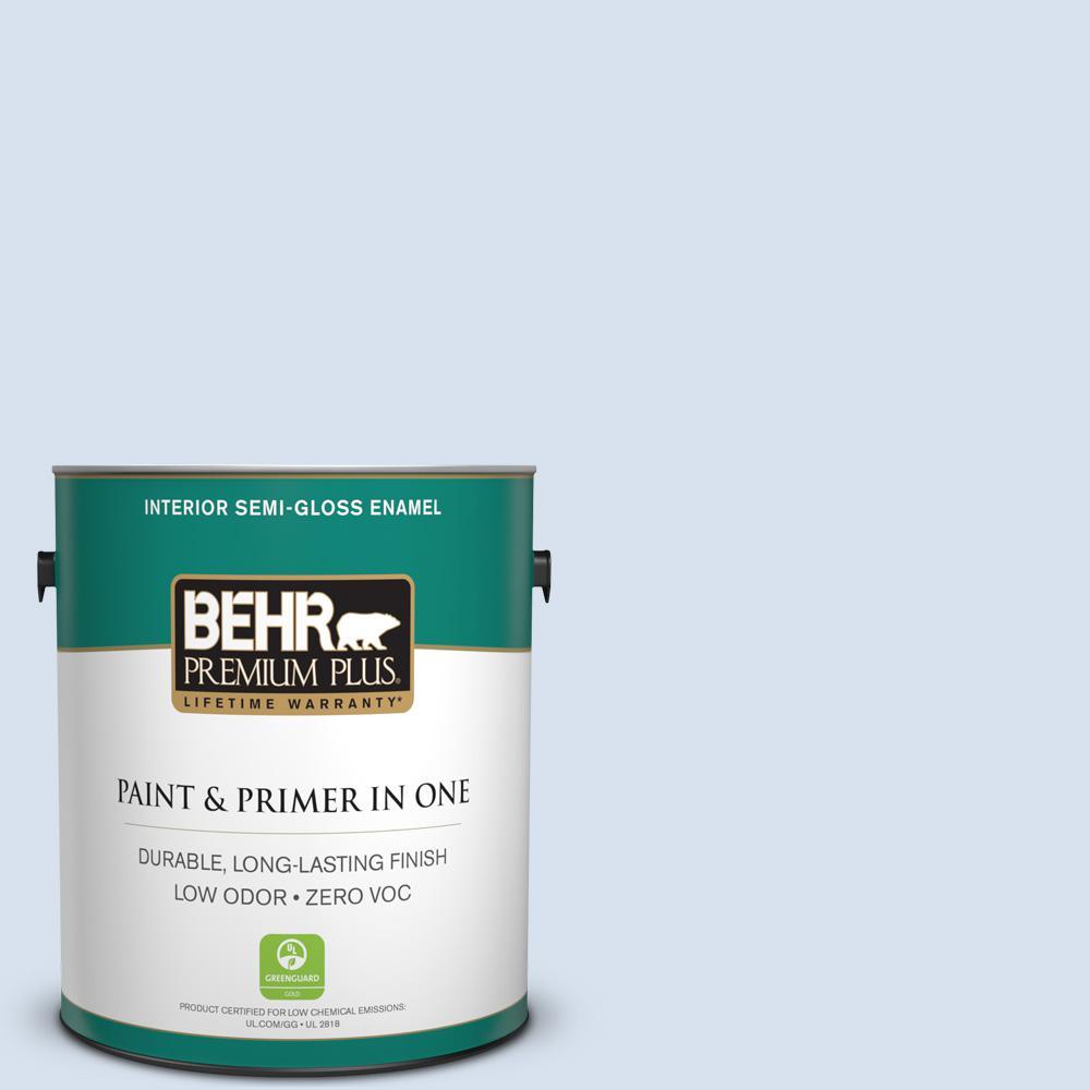 1-gal. #580A-2 Icy Bay Zero VOC Semi-Gloss Enamel Interior Paint