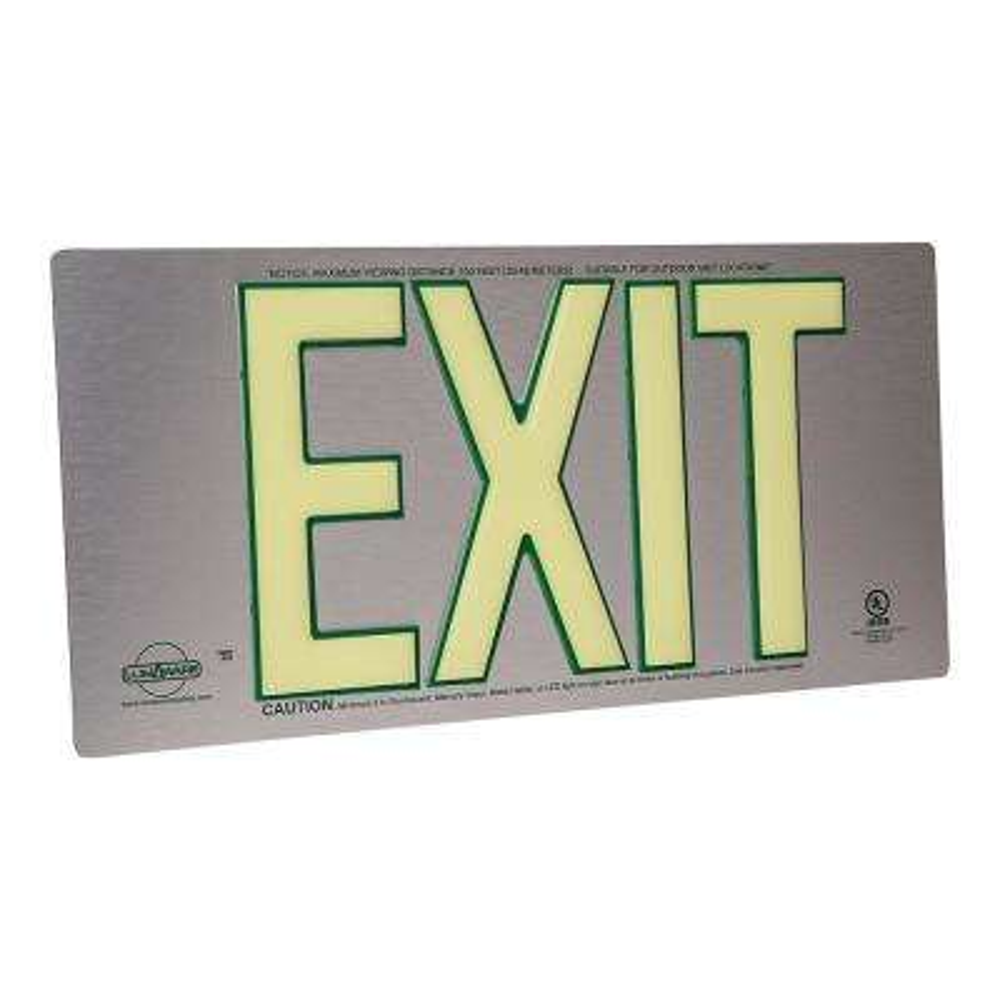 UL Listed Brushed Aluminum Back to Back Photoluminescent Emergency Exit Sign