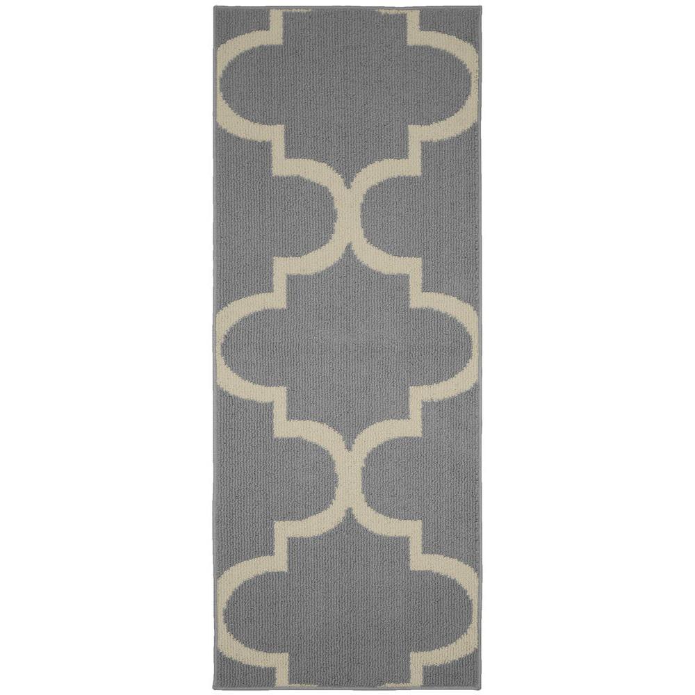 Garland Rug Large Quatrefoil Silver/Ivory 2 ft. x 5 ft. Runner Rug