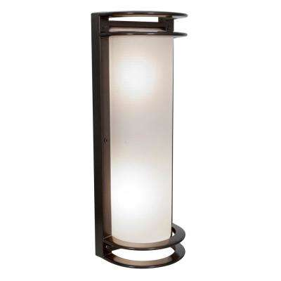 Nevis 6 in 60-Watt 2-Light Bronze Outdoor Wall Mount Sconce