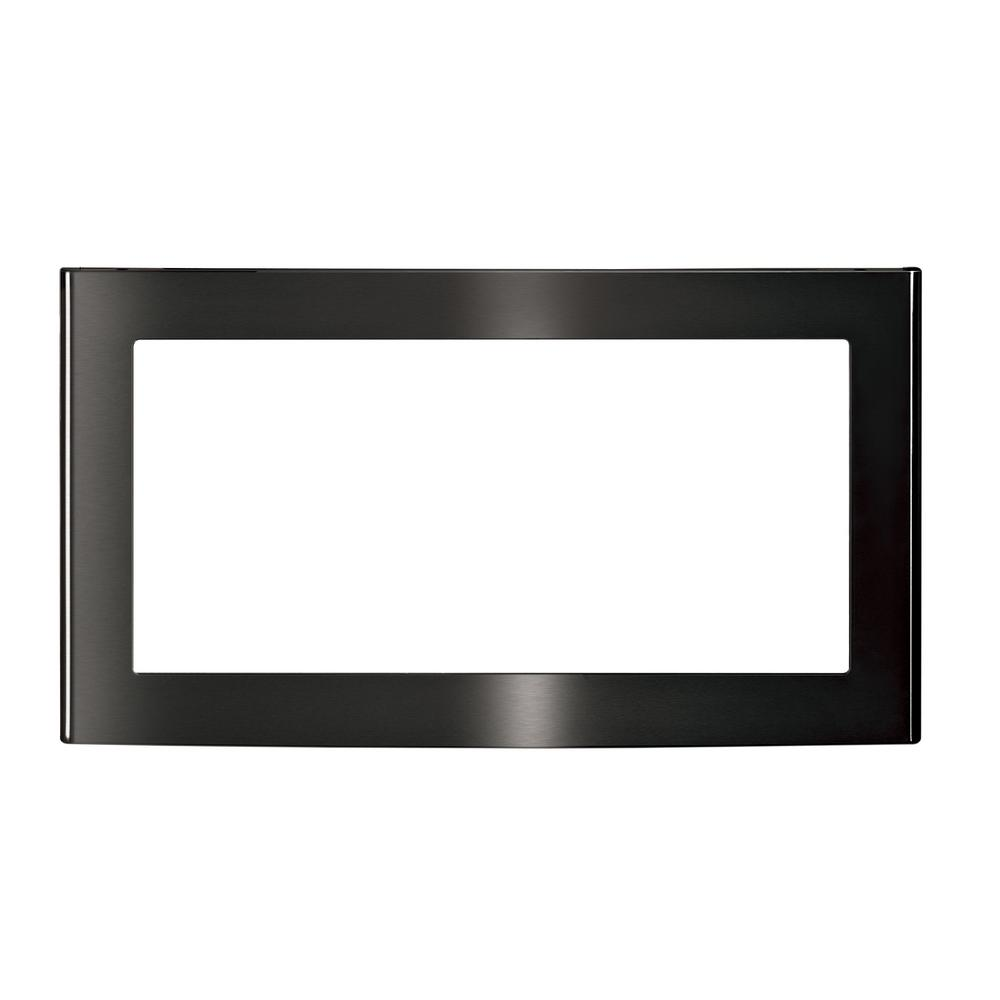 27 in. Built-In Microwave Trim Kit in Black Stainless Steel, Fingerprint