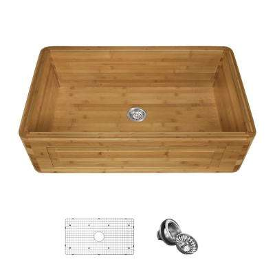 Farmhouse/Apron-Front Bamboo 33 in. Single Bowl Kitchen Sink