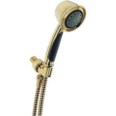 5-Spray Handheld Showerhead with Pause in Polished Brass