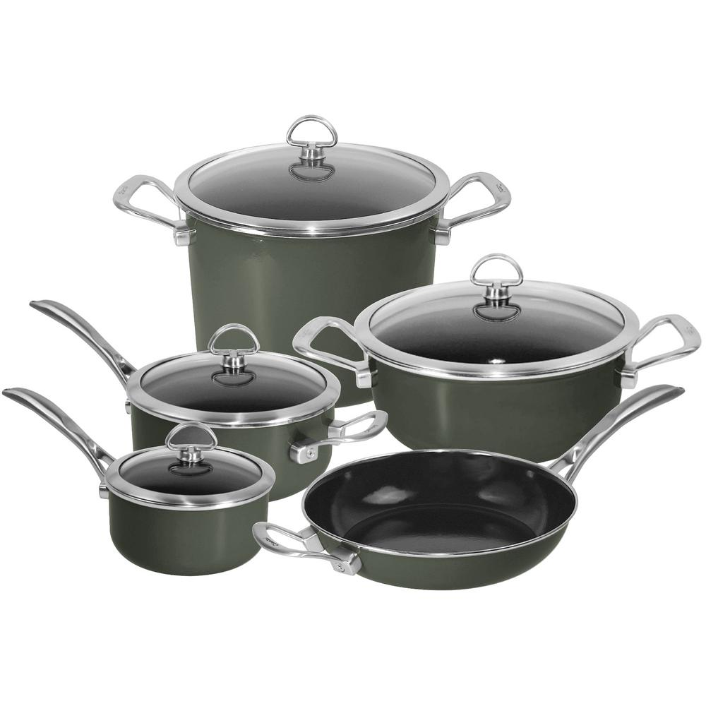Copper Fusion 9-Piece Cookware Set in Onyx