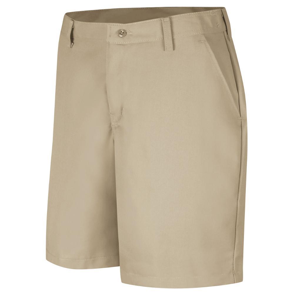 Women's Size 08 in. x 08 in. Tan Plain Front Short
