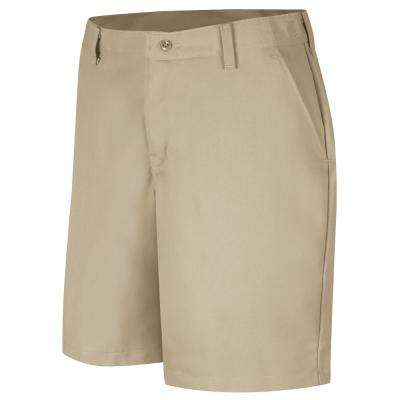 Women's Size 14 in. x 08 in. Tan Plain Front Short