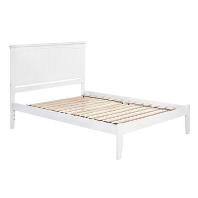 Nantucket King Platform Bed with Open Foot Board in White